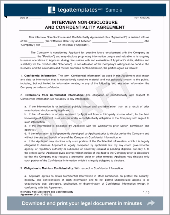 interview candidate non disclosure agreement form template tttiw