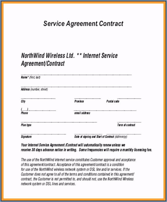 Service Contract Template Sample uwwio