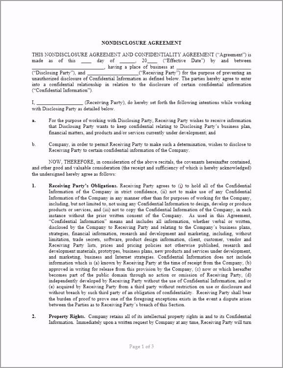 Non Disclosure Agreement Template iarui