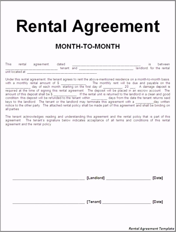 rental agreement template agreement templates efficient sample of month to month rental agreement template with blank information fill also landlord and tenant signatures 650x857 pteii