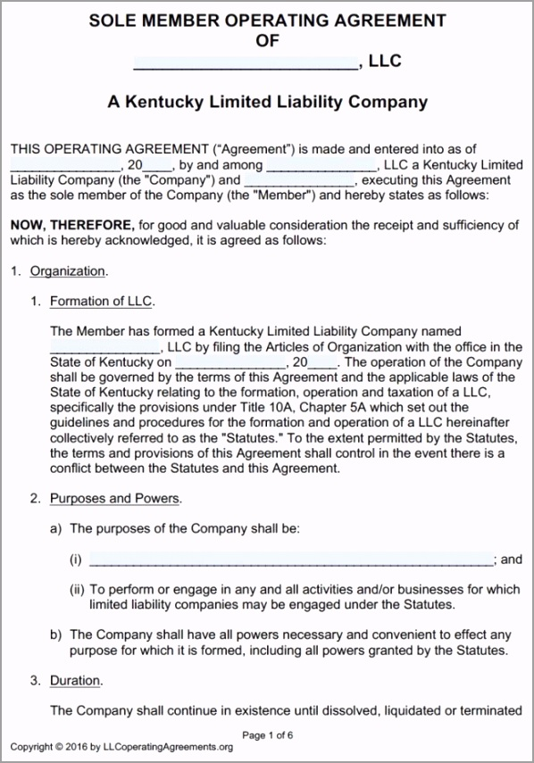 Kentucky Single Member LLC Operating Agreement Template pdf epter