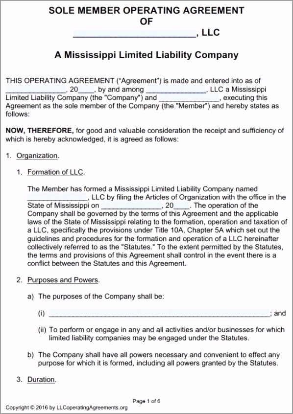 Mississippi Single Member LLC Operating Agreement Template pdf ineti