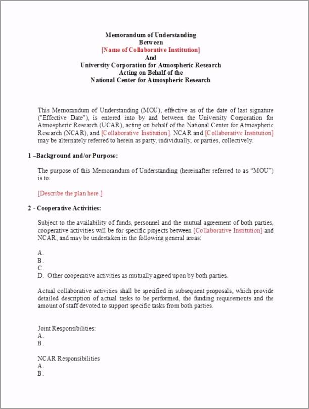 Memorandum of Understanding Template 25 titwb