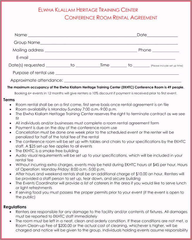 Room Rental Agreement Template8 tiroe