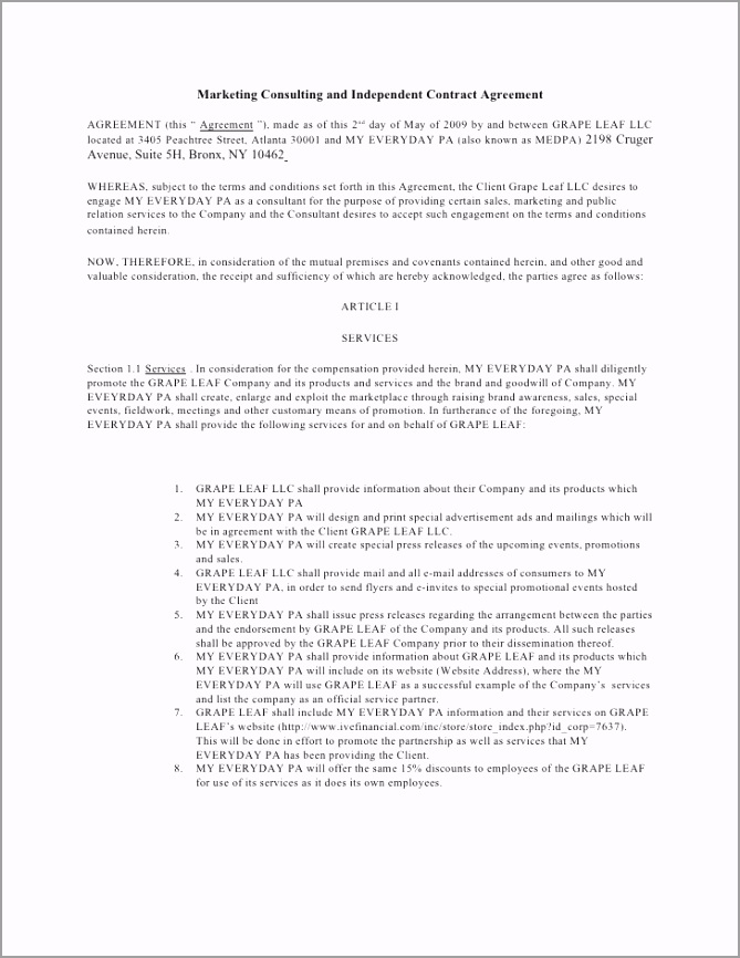 marketing consulting and independent contract agreement 1 728 eayiu
