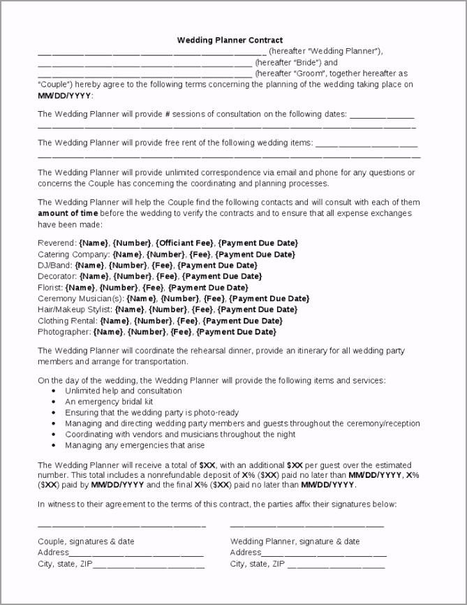 wedding coordinator contract template uruoo