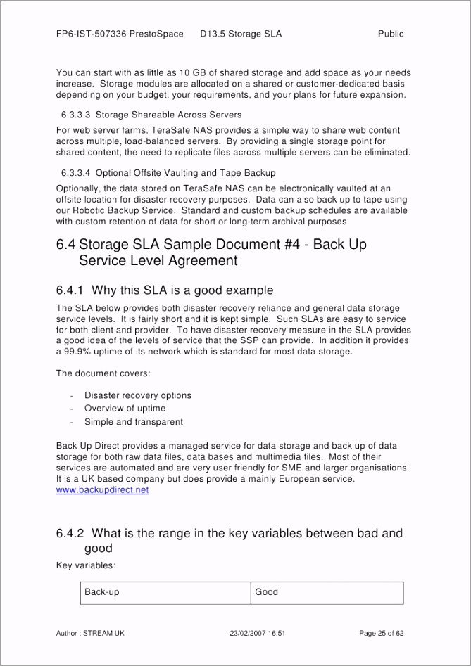 service level agreements for storage report and sample documents 25 728 oywiw