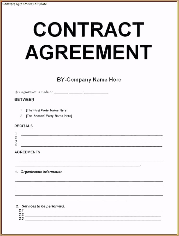Contract Agreement Letter Template aoyjt