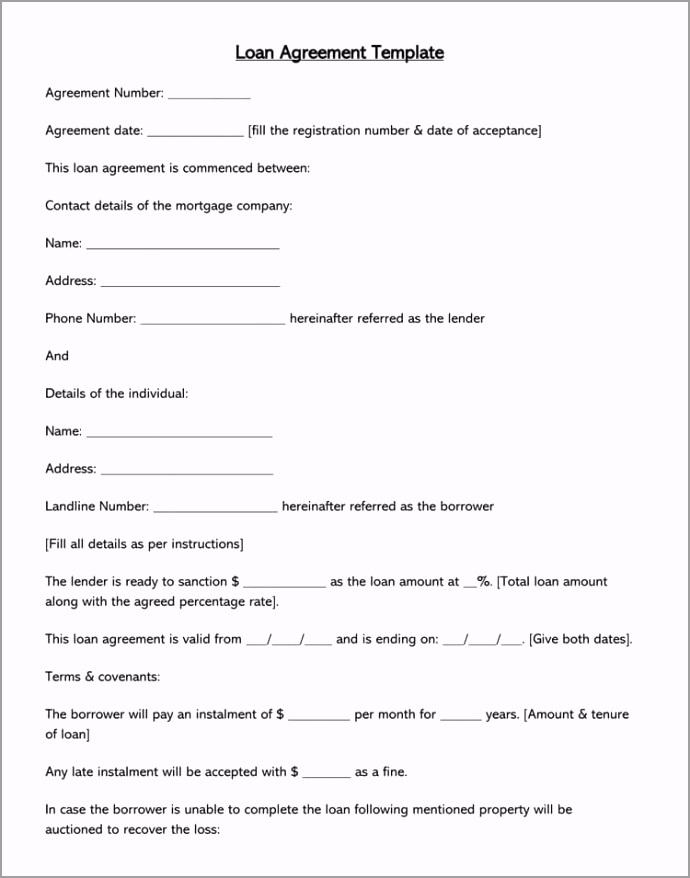 Loan Agreement Form Template eaaor