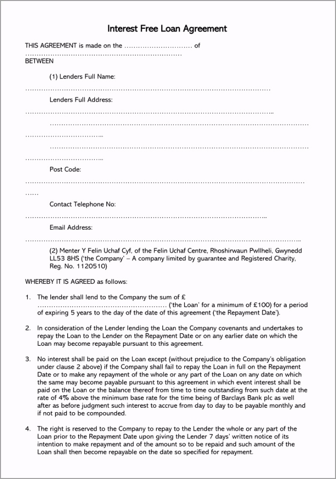 Interest Free Loan Agreement Template wwrpk