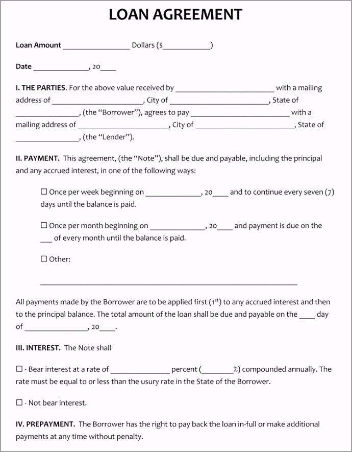 Short Form Loan Agreement Template rwqkp