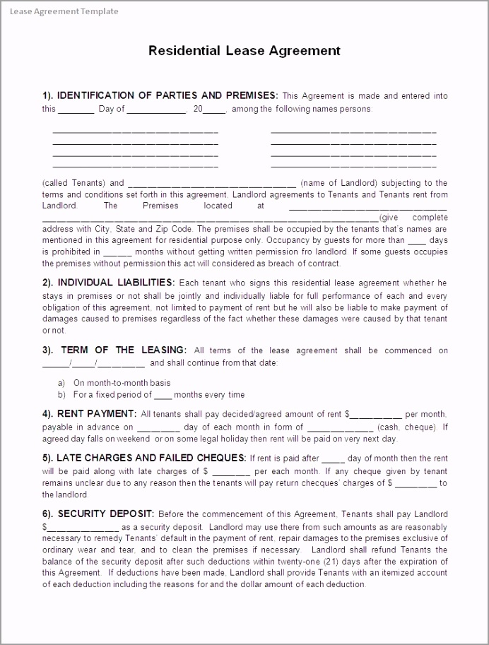 Lease Agreement Template yerry