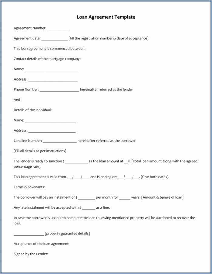 Personal Loan Agreement Template Example awwov