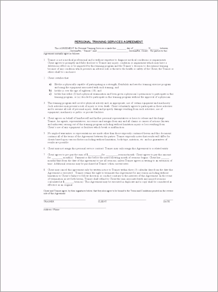 personal trainer independent contractor agreement fresh 019 personal training contracts template ideas trainer independentr of personal trainer independent contractor agreement toyfe