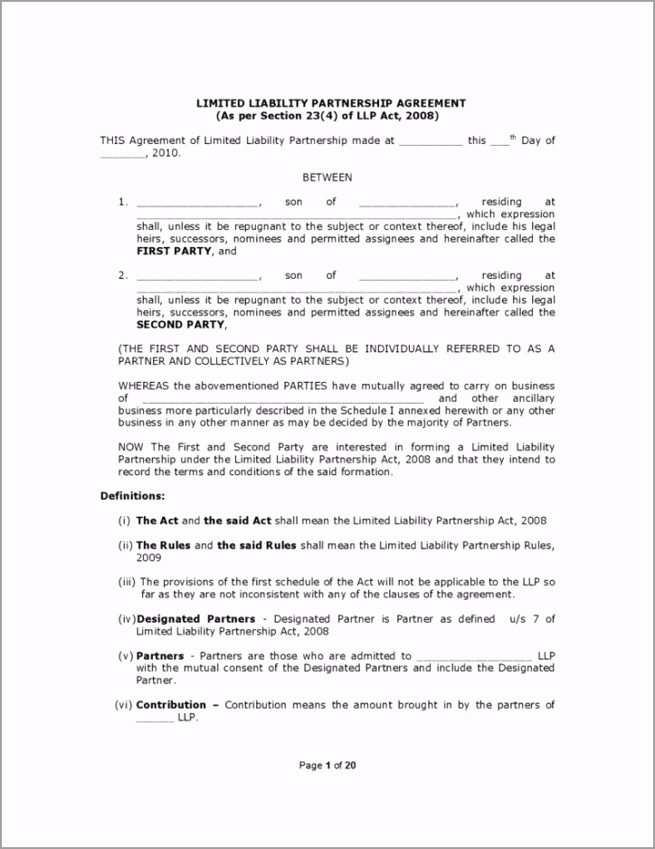General Limited Liability Partnership Agreement Template page 001 788x1020 ateep