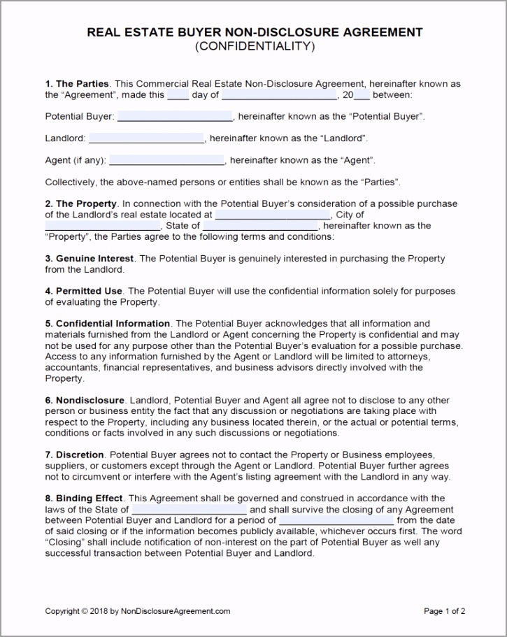 free real estate er confidentiality non disclosure agreement yulrt