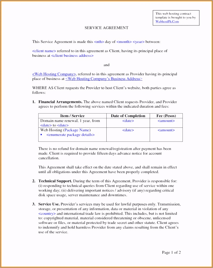 it support contract template with 10 contract agreement template for iaiyu