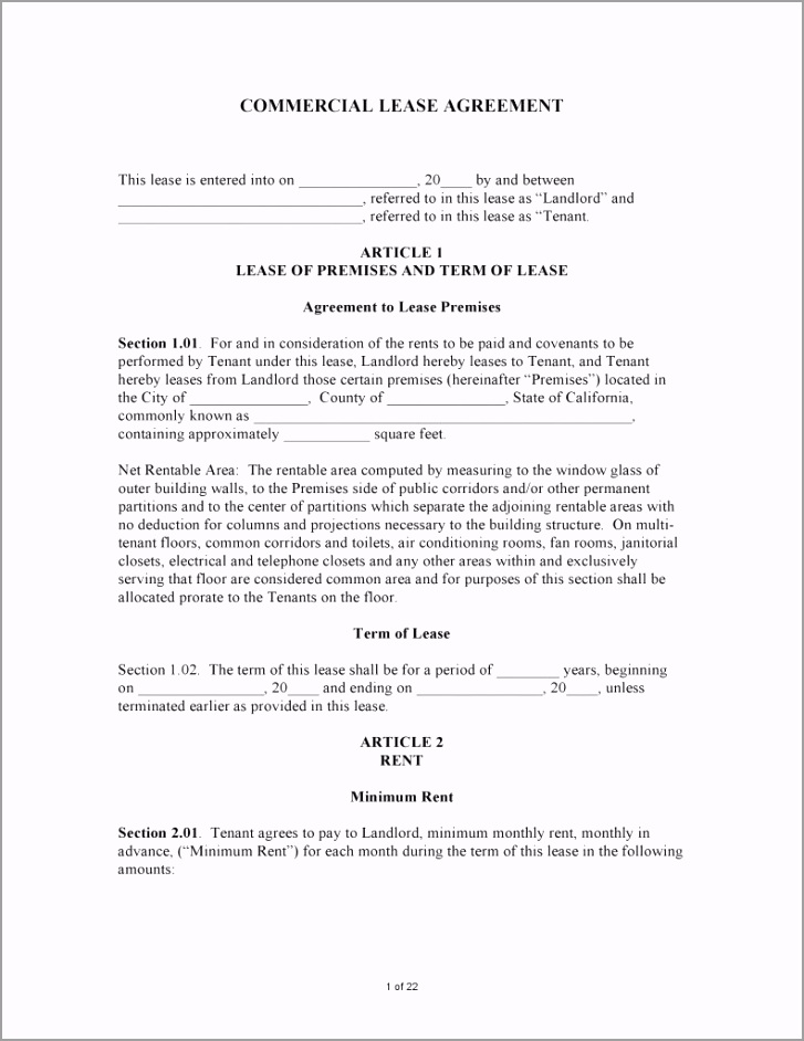 California mercial Lease Agreement 791x1024 yeehy