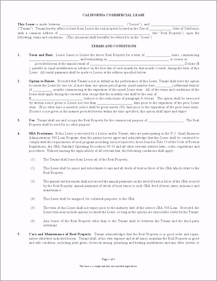 California mercial Lease Agreement 791x1024 tuiee
