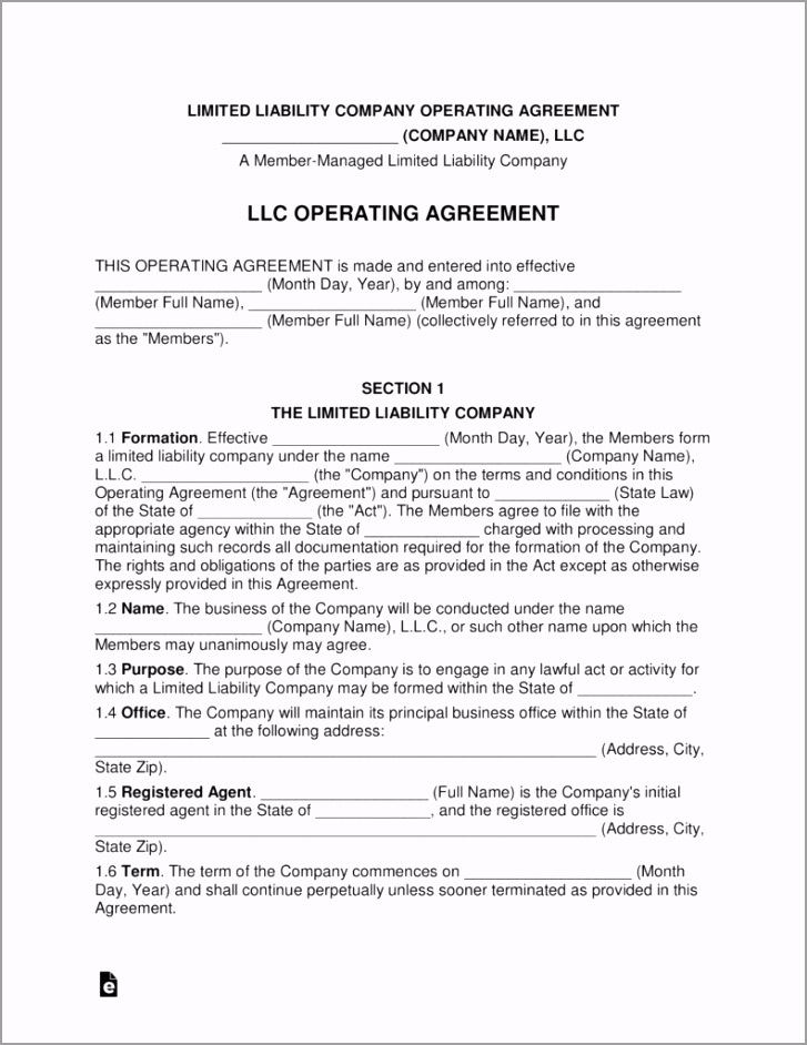 multi member llc operating agreement template eforms free single llc erttt