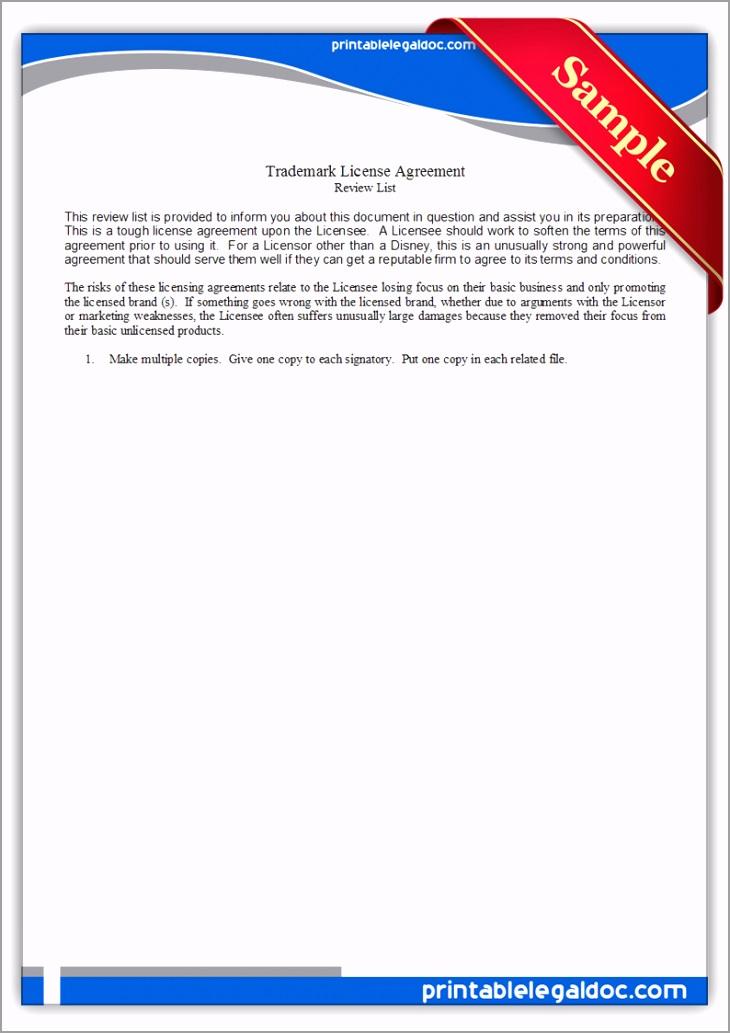 Printable Trademark License Agreement4 Form yzwtt