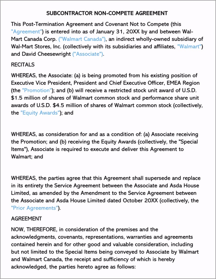 Subcontractor Non pete Agreement Template tptwe