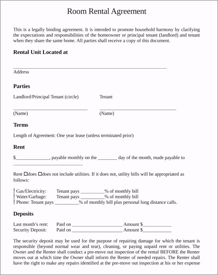 Room Rental Agreement Template ewuep