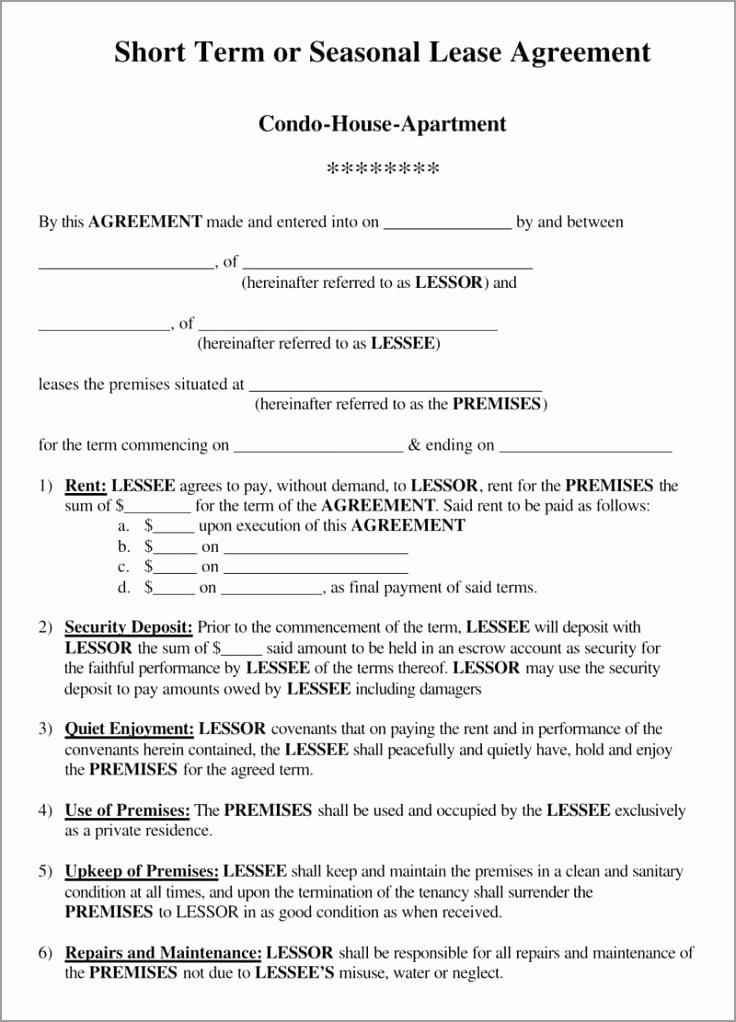 Apartment Short Term Lease Agreement pwaos
