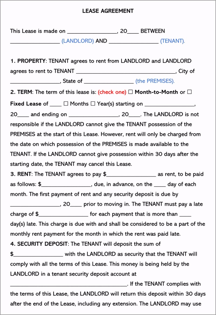 e 1 Page Residential Lease Agreement wprao