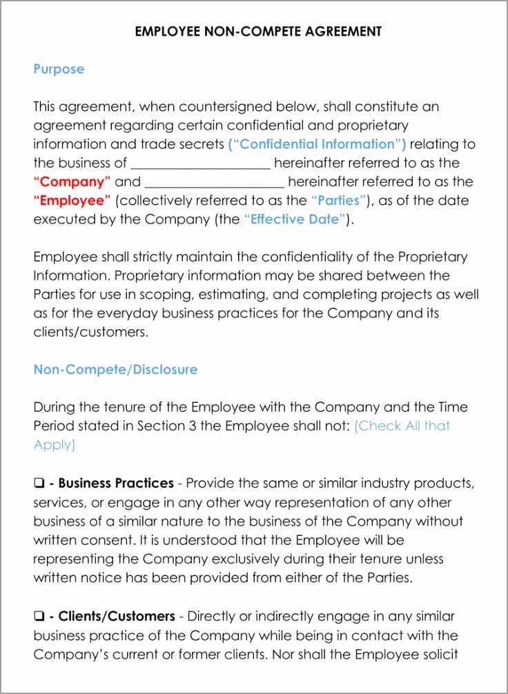 Employee Non peten Agreement Template txppt