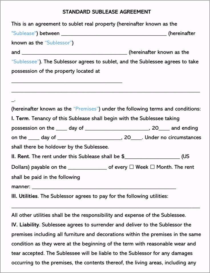 Standard SubLease Agreement Template irqru