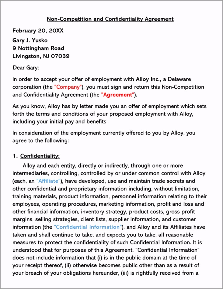 Non pete and Confidentiality Agreement Template rfpty