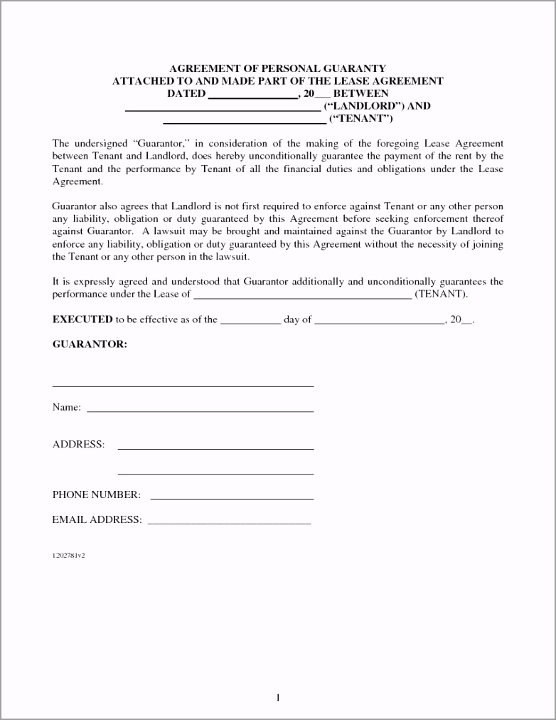 Agreement of Personal Guaranty for Lease Agreement 1 rwear