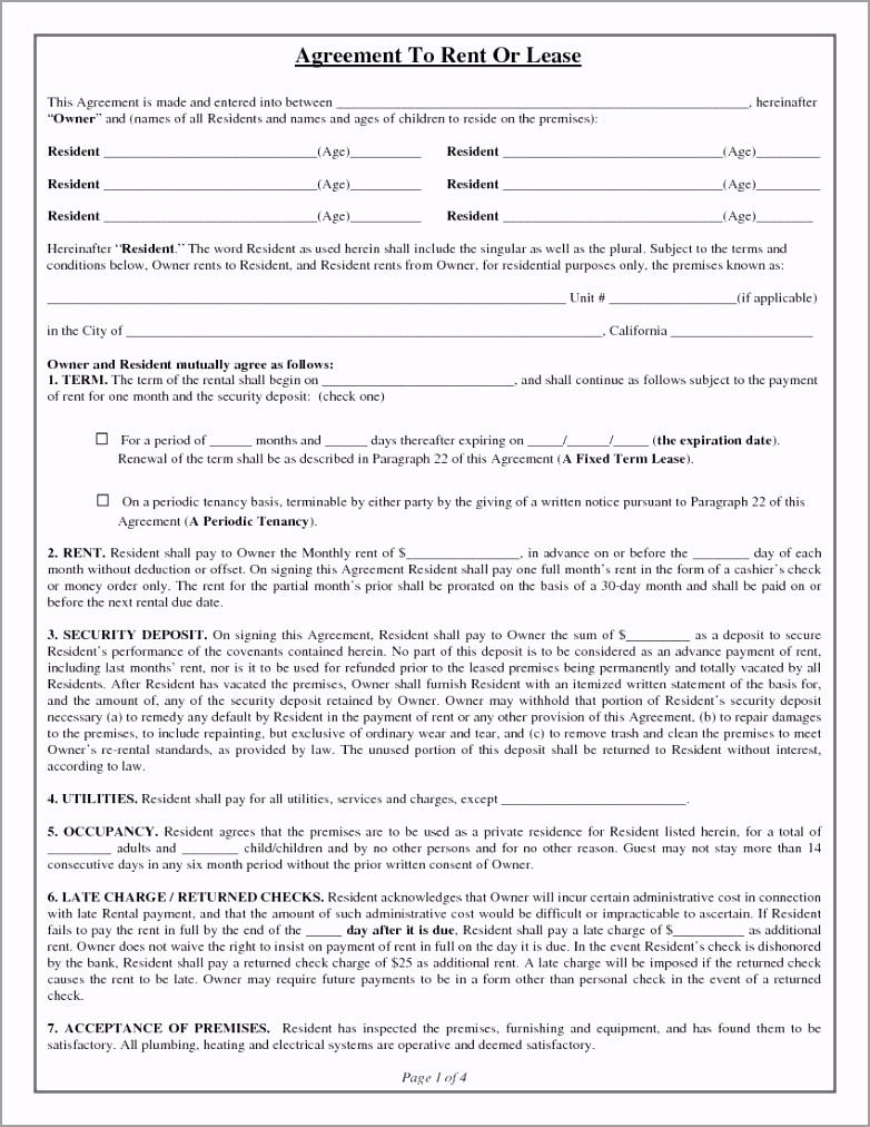 California Rental Lease Agreement 1 eiiyt