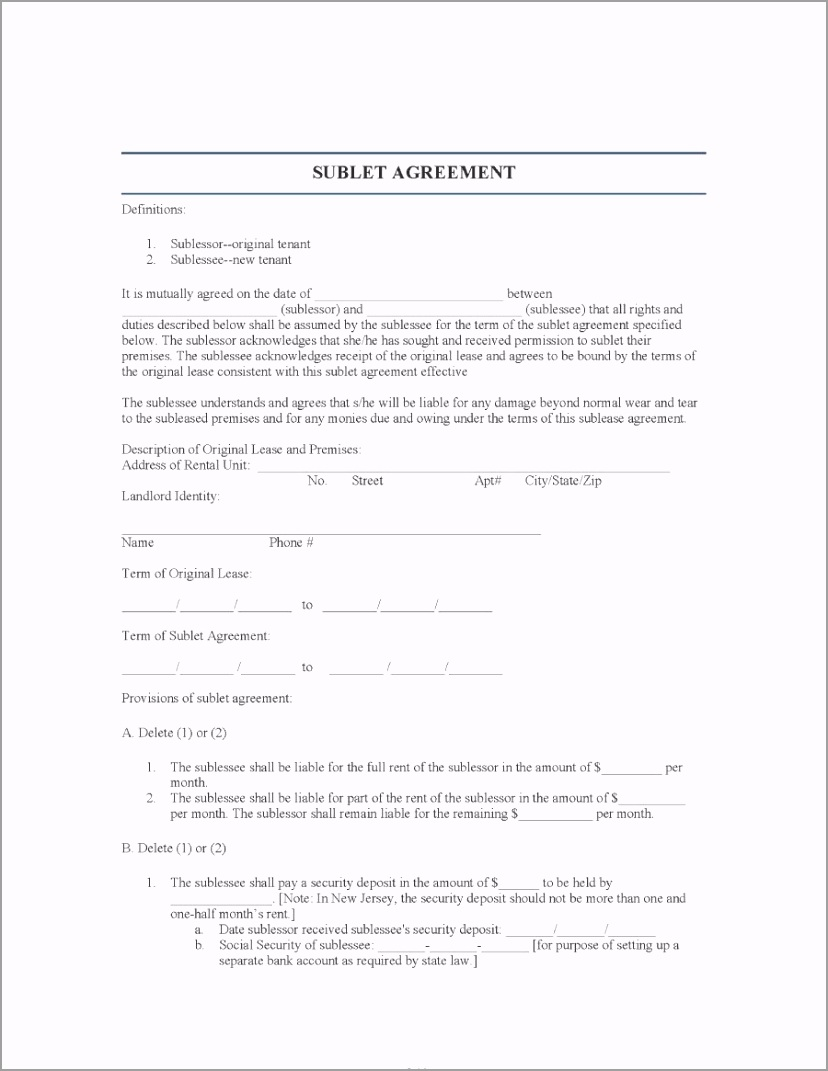 sublease agreement template 26 oaeoy