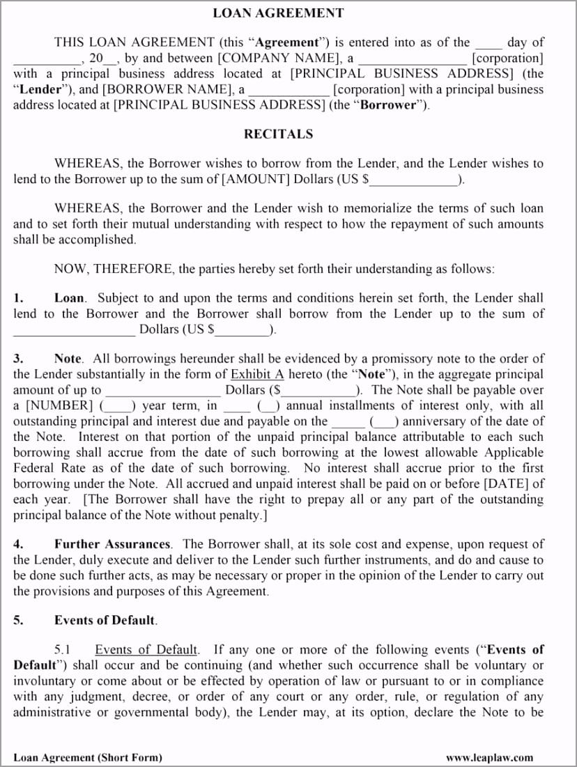 loan agreement template 12 uirow