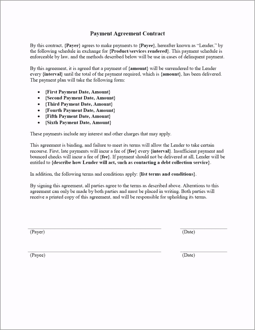 payment agreement templates contracts a template lab for service simple level urioy