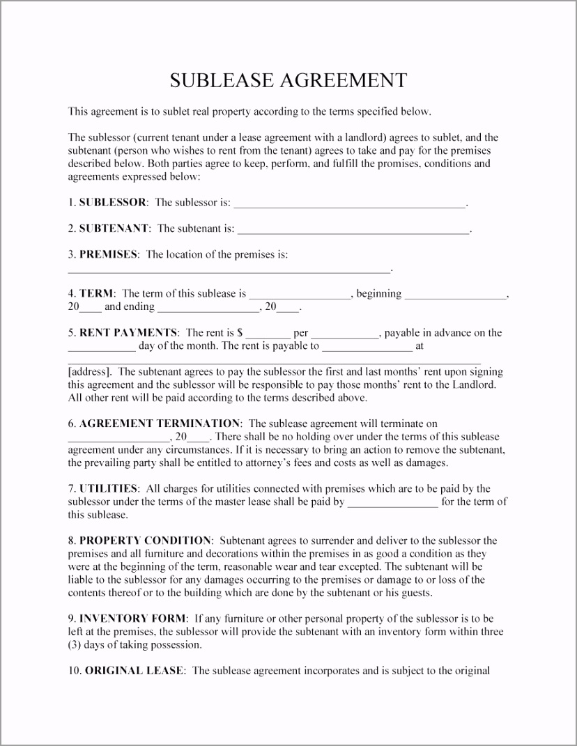 sublease agreement template 09 pueus