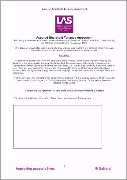 assured shorthold tenancy agreement ast salford city council auyat