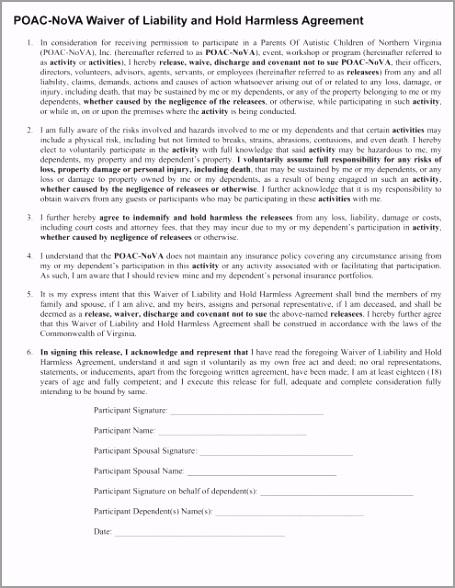 poac nova waiver of liability and hold harmless agreement ouyei