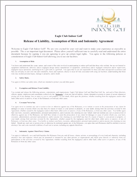general waiver of liability and rental agreement form eagle club rptru