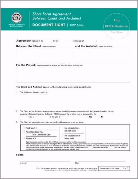short form agreement between client and architect royal atowa