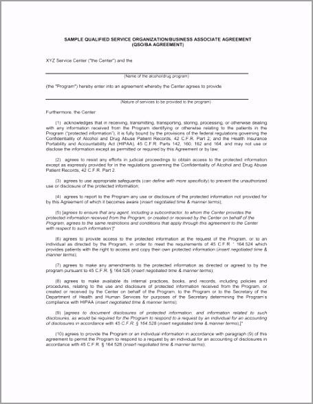 sample qualified service organization business associate agreement uopio