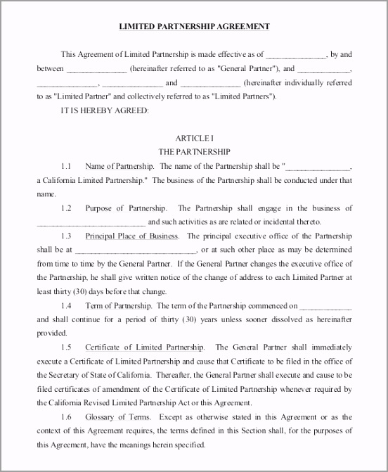 Limited Partnership Agreement pxwya