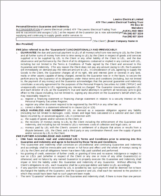 Personal Indemnity Agreement Format ofppt