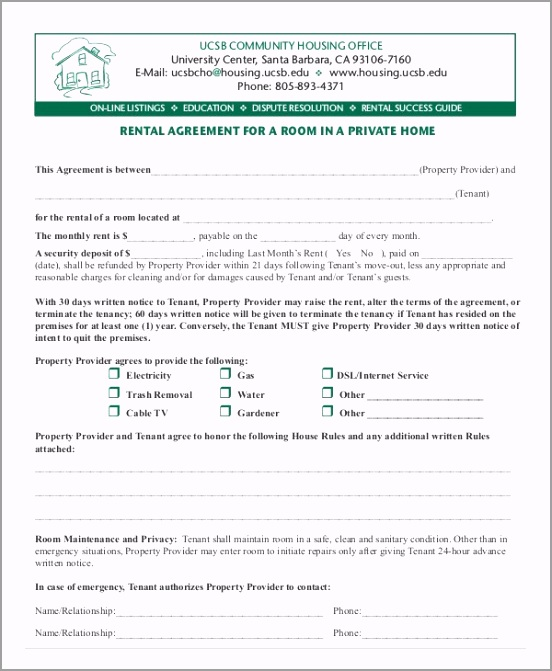 Room Rental Lease Agreement Form yueoo
