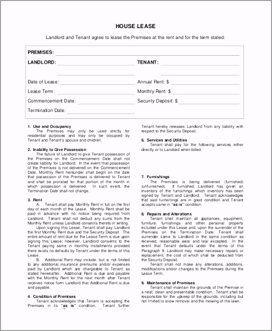 House Lease Agreement Form ayiaw