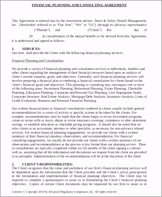 Financial Consulting Plan Agreement Form awrit