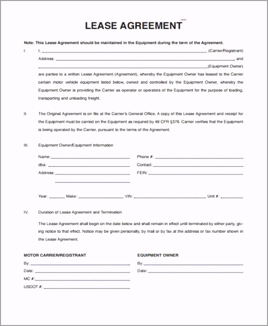 Personal Vehicle lease Agreement Form tpier