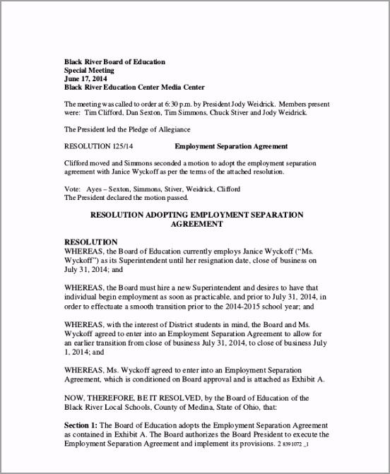 Printable Employee Separation Agreement rwffa